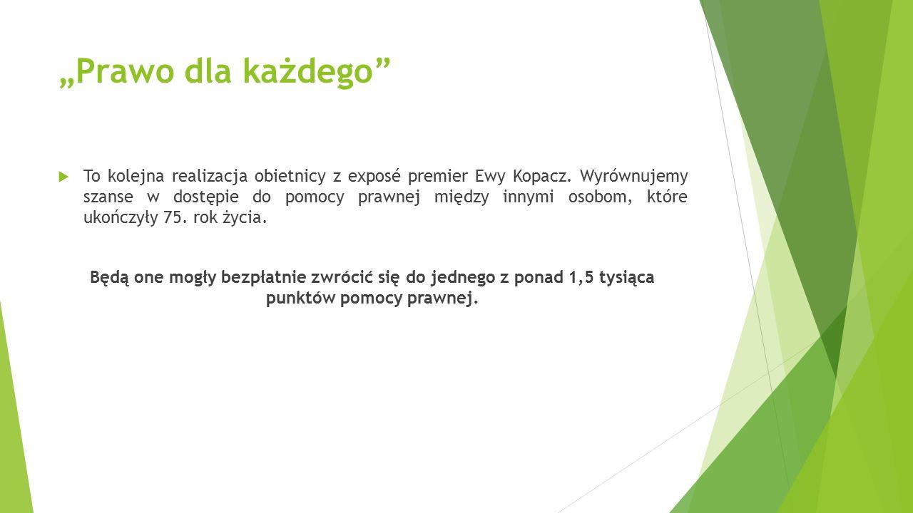 """""""Prawo dla każdego""""  To kolejna realizacja obietnicy z exposé premier Ewy Kopacz. Wyrównujemy szanse w dostępie do pomocy prawnej między innymi osobo"""