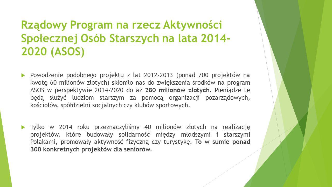 Rządowy Program na rzecz Aktywności Społecznej Osób Starszych na lata 2014- 2020 (ASOS)  Powodzenie podobnego projektu z lat 2012-2013 (ponad 700 pro