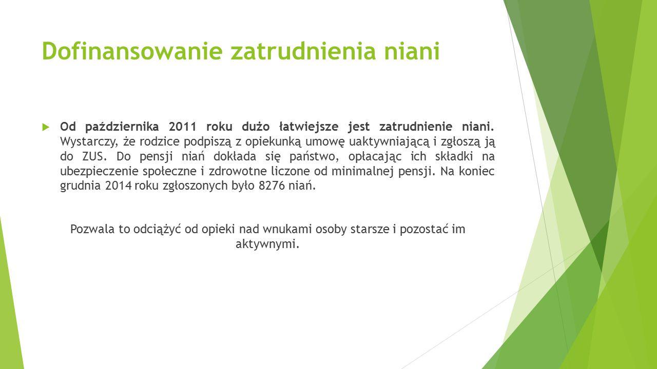 Dofinansowanie zatrudnienia niani  Od października 2011 roku dużo łatwiejsze jest zatrudnienie niani. Wystarczy, że rodzice podpiszą z opiekunką umow