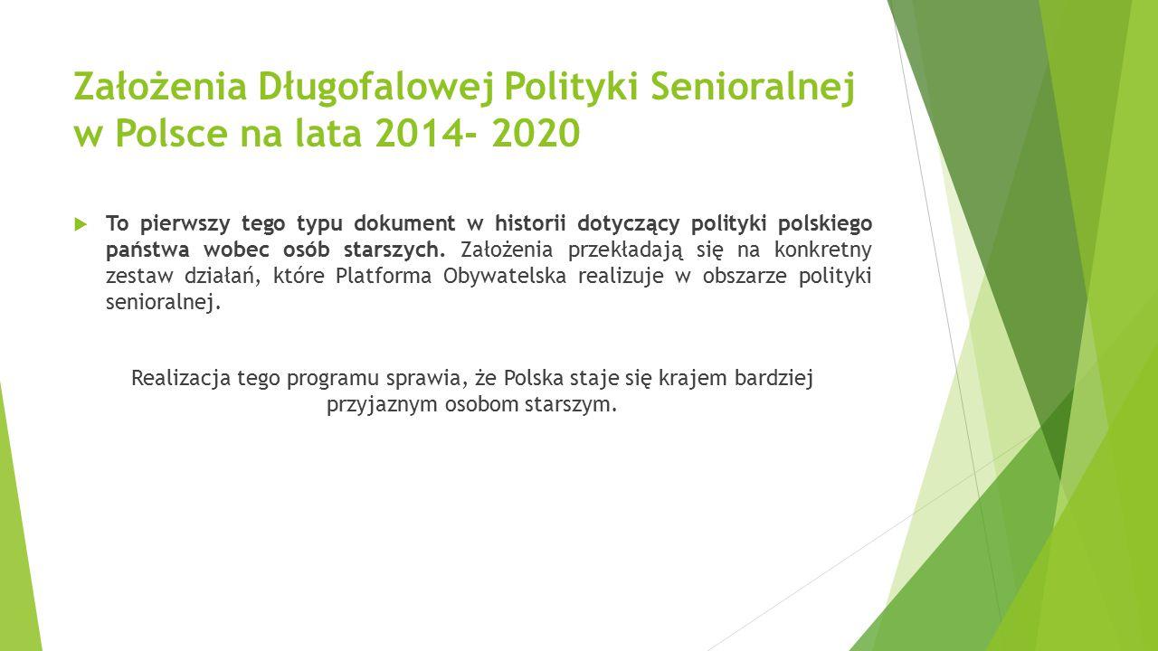 Założenia Długofalowej Polityki Senioralnej w Polsce na lata 2014- 2020  To pierwszy tego typu dokument w historii dotyczący polityki polskiego państwa wobec osób starszych.