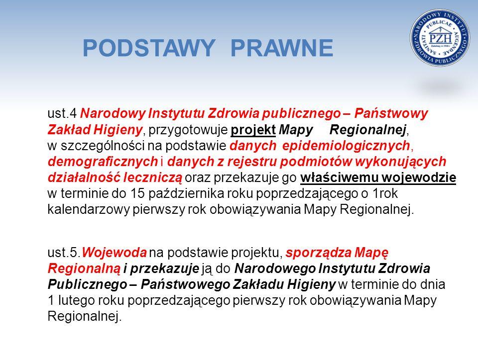 PODSTAWY PRAWNE ust.4 Narodowy Instytutu Zdrowia publicznego – Państwowy Zakład Higieny, przygotowuje projekt Mapy Regionalnej, w szczególności na pod