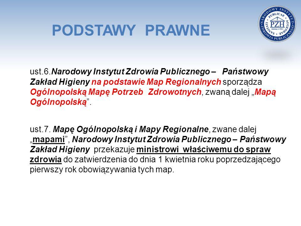 PODSTAWY PRAWNE ust.6.Narodowy Instytut Zdrowia Publicznego – Państwowy Zakład Higieny na podstawie Map Regionalnych sporządza Ogólnopolską Mapę Potrz