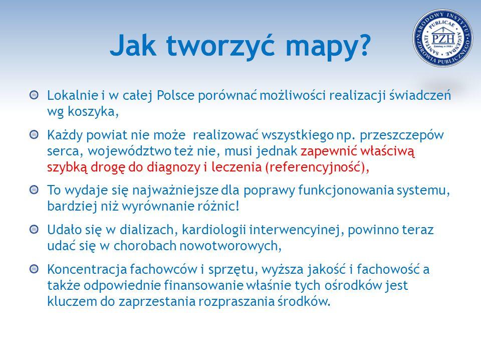 Jak tworzyć mapy? Lokalnie i w całej Polsce porównać możliwości realizacji świadczeń wg koszyka, Każdy powiat nie może realizować wszystkiego np. prze