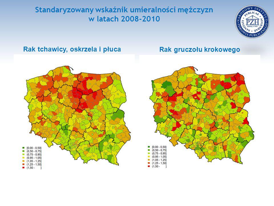 Standaryzowany wskaźnik umieralności mężczyzn w latach 2008-2010 Rak tchawicy, oskrzela i płuca Rak gruczołu krokowego