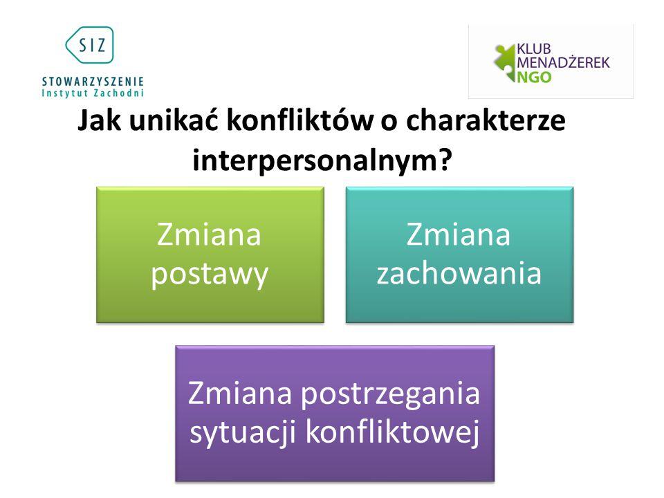 Jak unikać konfliktów o charakterze interpersonalnym? Zmiana postawy Zmiana zachowania Zmiana postrzegania sytuacji konfliktowej