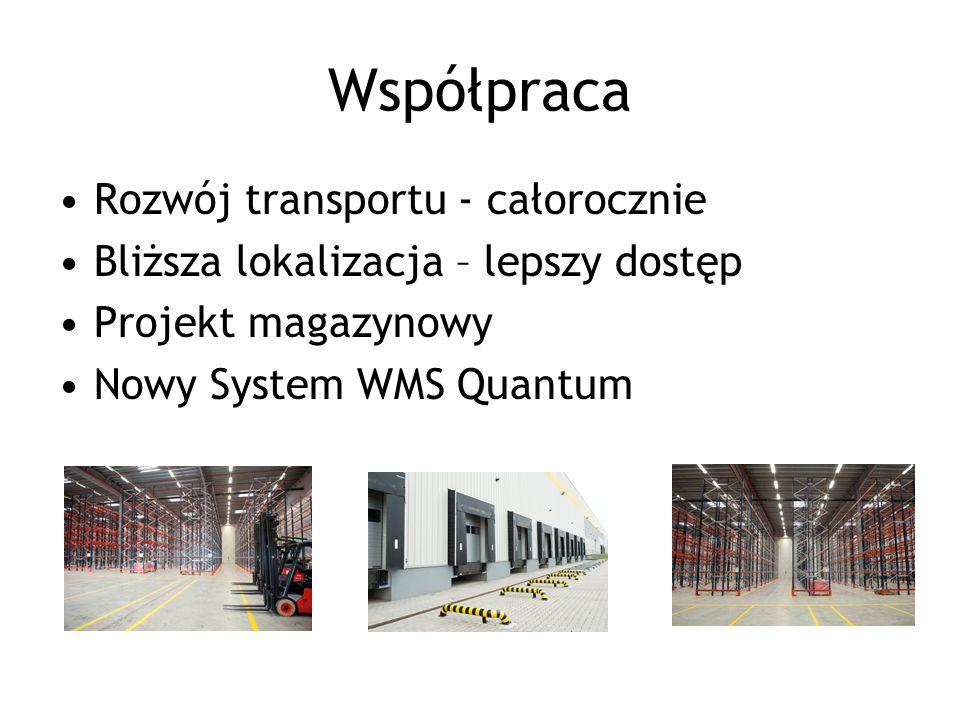 Współpraca Rozwój transportu - całorocznie Bliższa lokalizacja – lepszy dostęp Projekt magazynowy Nowy System WMS Quantum
