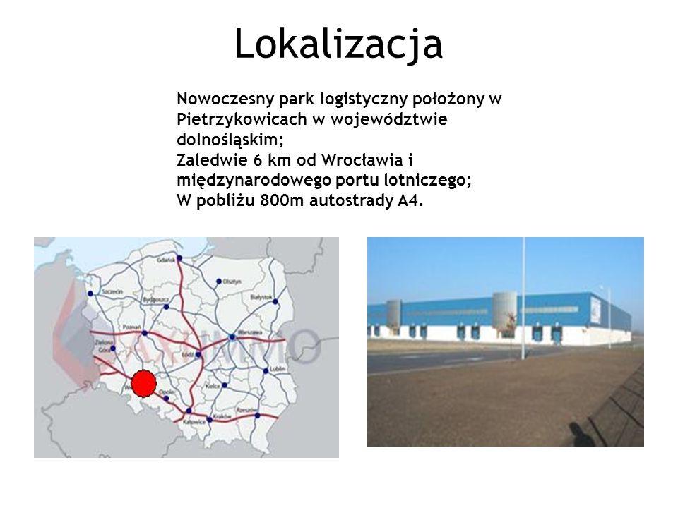 Lokalizacja Nowoczesny park logistyczny położony w Pietrzykowicach w województwie dolnośląskim; Zaledwie 6 km od Wrocławia i międzynarodowego portu lotniczego; W pobliżu 800m autostrady A4.