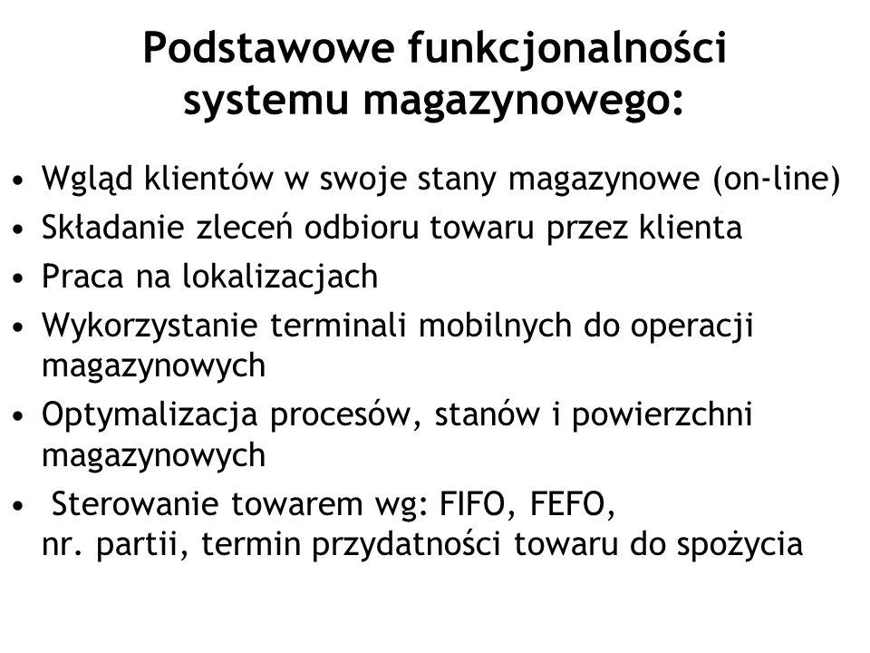 Podstawowe funkcjonalności systemu magazynowego: Wgląd klientów w swoje stany magazynowe (on-line) Składanie zleceń odbioru towaru przez klienta Praca na lokalizacjach Wykorzystanie terminali mobilnych do operacji magazynowych Optymalizacja procesów, stanów i powierzchni magazynowych Sterowanie towarem wg: FIFO, FEFO, nr.