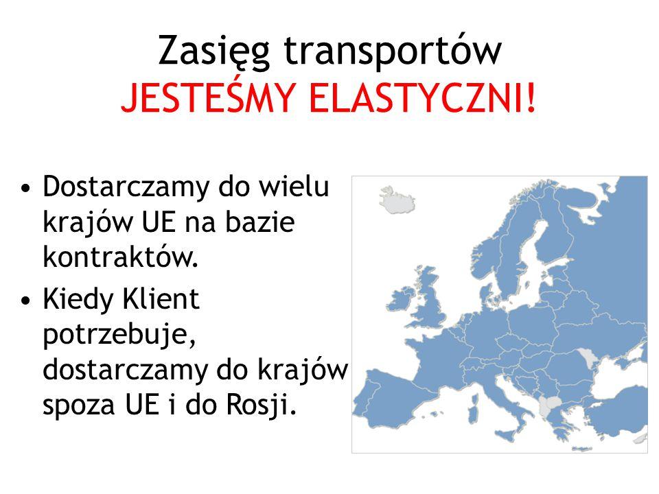 Zasięg transportów JESTEŚMY ELASTYCZNI.Dostarczamy do wielu krajów UE na bazie kontraktów.