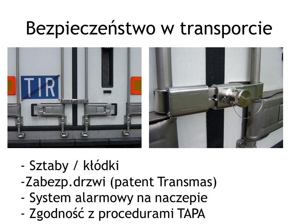 Bezpieczeństwo w transporcie - Sztaby / kłódki -Zabezp.drzwi (patent Transmas) - System alarmowy na naczepie - Zgodność z procedurami TAPA