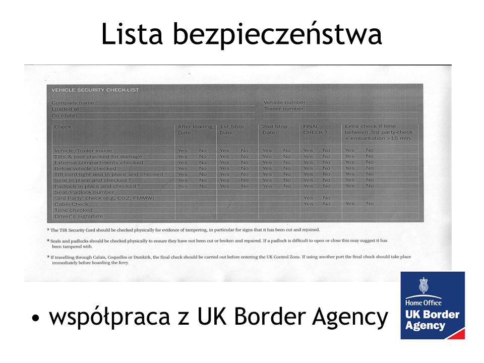 Lista bezpieczeństwa współpraca z UK Border Agency