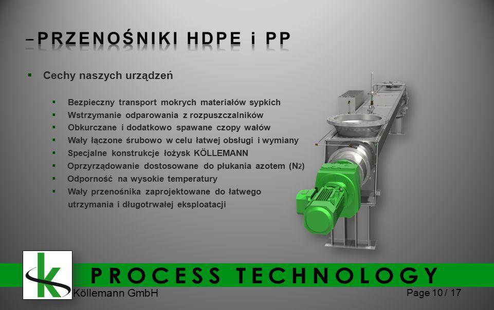 Köllemann GmbH Page 10 / 17  Cechy naszych urządzeń  Bezpieczny transport mokrych materiałów sypkich  Wstrzymanie odparowania z rozpuszczalników 