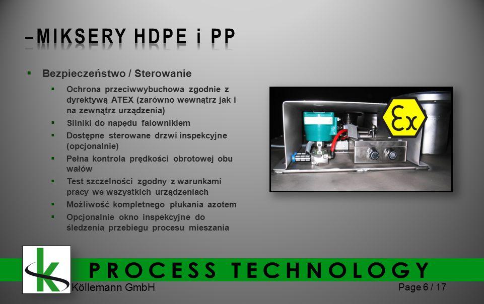 Köllemann GmbH Page 6 / 17  Bezpieczeństwo / Sterowanie  Ochrona przeciwwybuchowa zgodnie z dyrektywą ATEX (zarówno wewnątrz jak i na zewnątrz urządzenia)  Silniki do napędu falownikiem  Dostępne sterowane drzwi inspekcyjne (opcjonalnie)  Pełna kontrola prędkości obrotowej obu wałów  Test szczelności zgodny z warunkami pracy we wszystkich urządzeniach  Możliwość kompletnego płukania azotem  Opcjonalnie okno inspekcyjne do śledzenia przebiegu procesu mieszania