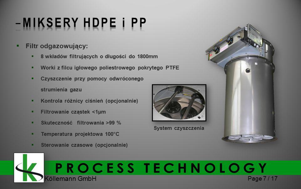 Köllemann GmbH Page 7 / 17  Filtr odgazowujący:  8 wkładów filtrujących o długości do 1800mm  Worki z filcu igłowego poliestrowego pokrytego PTFE  Czyszczenie przy pomocy odwróconego strumienia gazu  Kontrola różnicy ciśnień (opcjonalnie)  Filtrowanie cząstek <1μm  Skuteczność filtrowania >99 %  Temperatura projektowa 100°C  Sterowanie czasowe (opcjonalnie) System czyszczenia