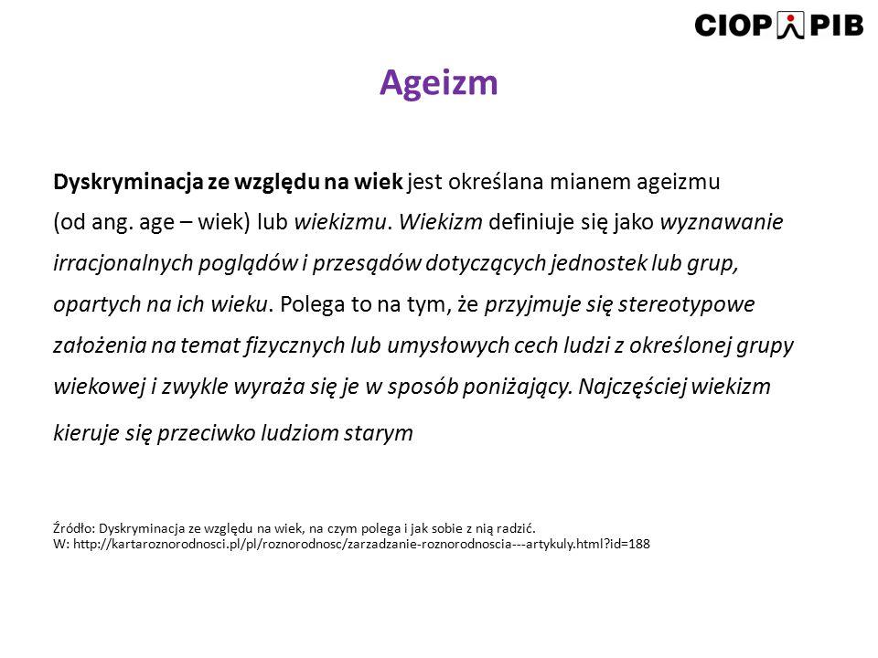 Ageizm Dyskryminacja ze względu na wiek jest określana mianem ageizmu (od ang. age – wiek) lub wiekizmu. Wiekizm definiuje się jako wyznawanie irracjo