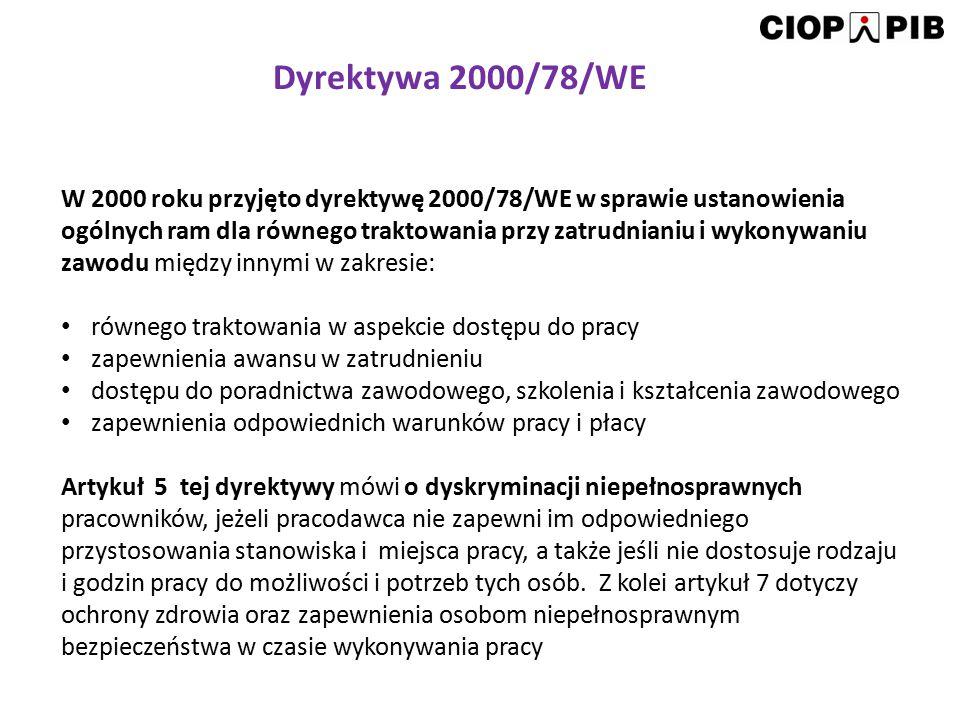 W 2000 roku przyjęto dyrektywę 2000/78/WE w sprawie ustanowienia ogólnych ram dla równego traktowania przy zatrudnianiu i wykonywaniu zawodu między in