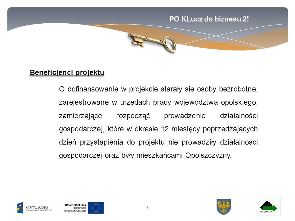 55 Beneficjenci projektu O dofinansowanie w projekcie starały się osoby bezrobotne, zarejestrowane w urzędach pracy województwa opolskiego, zamierzające rozpocząć prowadzenie działalności gospodarczej, które w okresie 12 miesięcy poprzedzających dzień przystąpienia do projektu nie prowadziły działalności gospodarczej oraz były mieszkańcami Opolszczyzny.