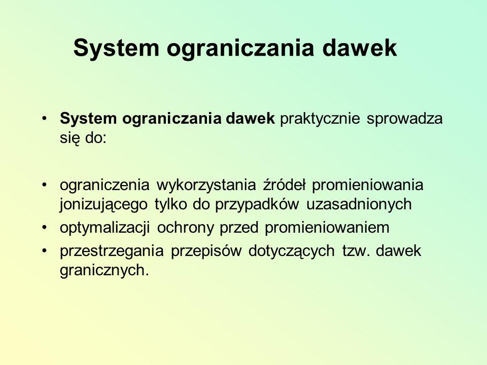 System ograniczania dawek System ograniczania dawek praktycznie sprowadza się do: ograniczenia wykorzystania źródeł promieniowania jonizującego tylko