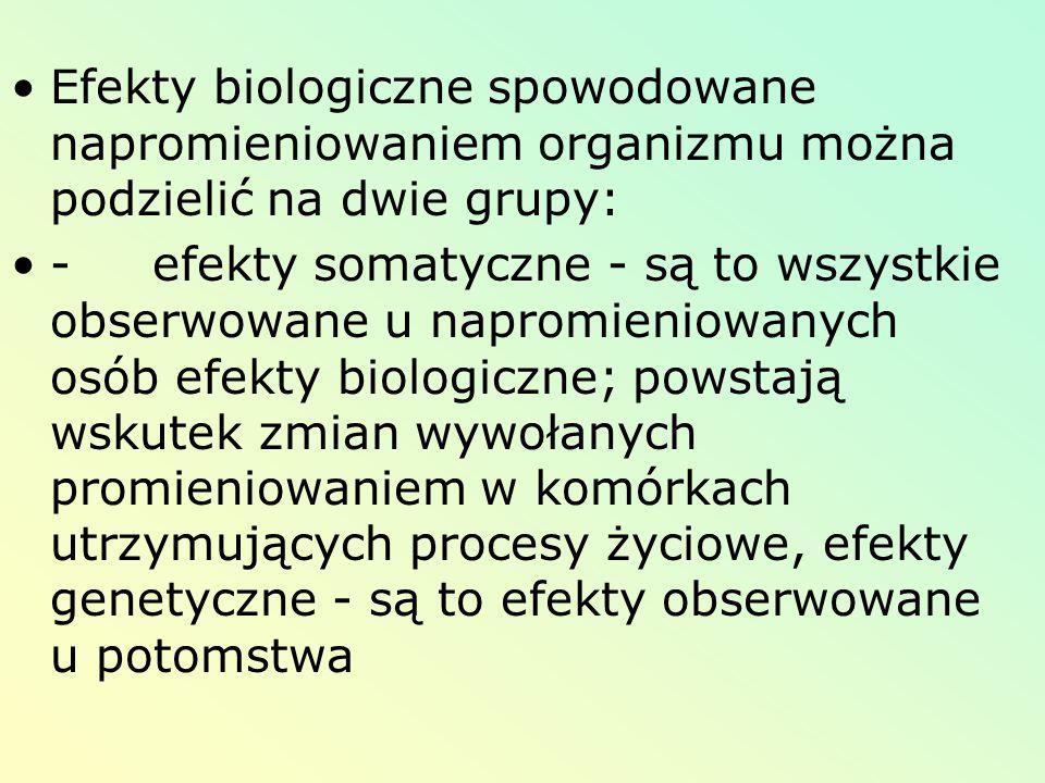 Efekty biologiczne spowodowane napromieniowaniem organizmu można podzielić na dwie grupy: - efekty somatyczne - są to wszystkie obserwowane u napromie
