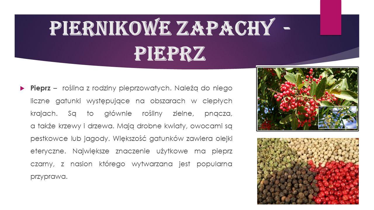 Piernikowe zapachy - pieprz  Pieprz – roślina z rodziny pieprzowatych. Należą do niego liczne gatunki występujące na obszarach w ciepłych krajach. Są
