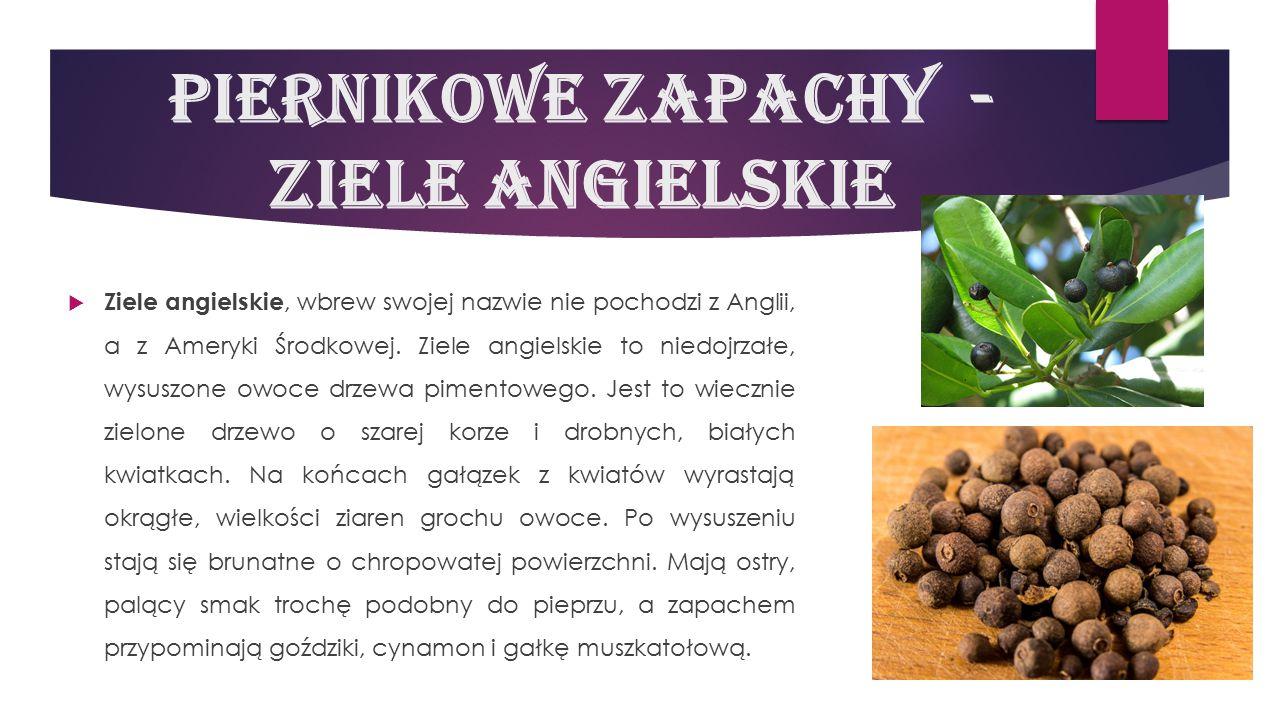 Piernikowe zapachy - ziele angielskie  Ziele angielskie, wbrew swojej nazwie nie pochodzi z Anglii, a z Ameryki Środkowej. Ziele angielskie to niedoj