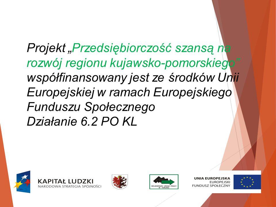 """Projekt """"Przedsiębiorczość szansą na rozwój regionu kujawsko-pomorskiego współfinansowany jest ze środków Unii Europejskiej w ramach Europejskiego Funduszu Społecznego Działanie 6.2 PO KL"""