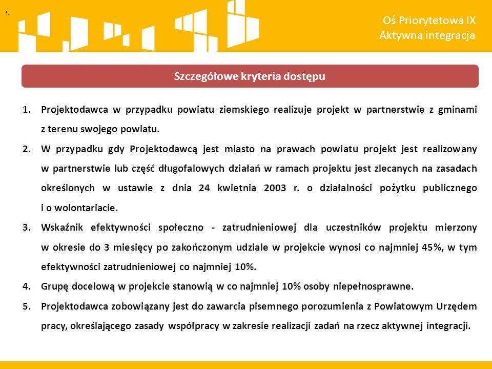 1.Projektodawca w przypadku powiatu ziemskiego realizuje projekt w partnerstwie z gminami z terenu swojego powiatu.