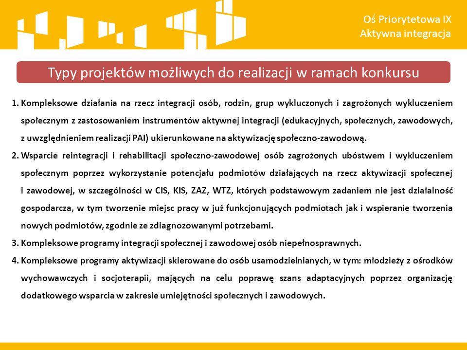 1.Kompleksowe działania na rzecz integracji osób, rodzin, grup wykluczonych i zagrożonych wykluczeniem społecznym z zastosowaniem instrumentów aktywnej integracji (edukacyjnych, społecznych, zawodowych, z uwzględnieniem realizacji PAI) ukierunkowane na aktywizację społeczno-zawodową.