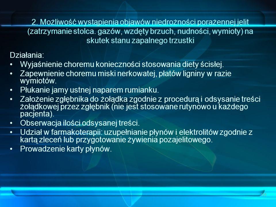 105 2. Możliwość wystąpienia objawów niedrożności porażennej jelit (zatrzymanie stolca. gazów, wzdęty brzuch, nudności, wymioty) na skutek stanu zapal