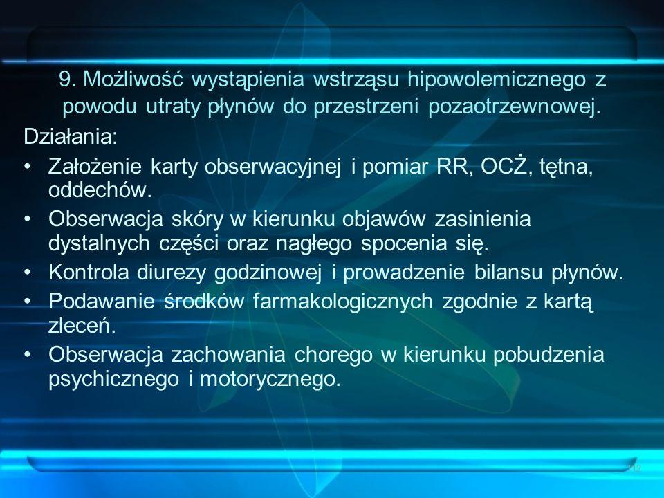 112 9. Możliwość wystąpienia wstrząsu hipowolemicznego z powodu utraty płynów do przestrzeni pozaotrzewnowej. Działania: Założenie karty obserwacyjnej
