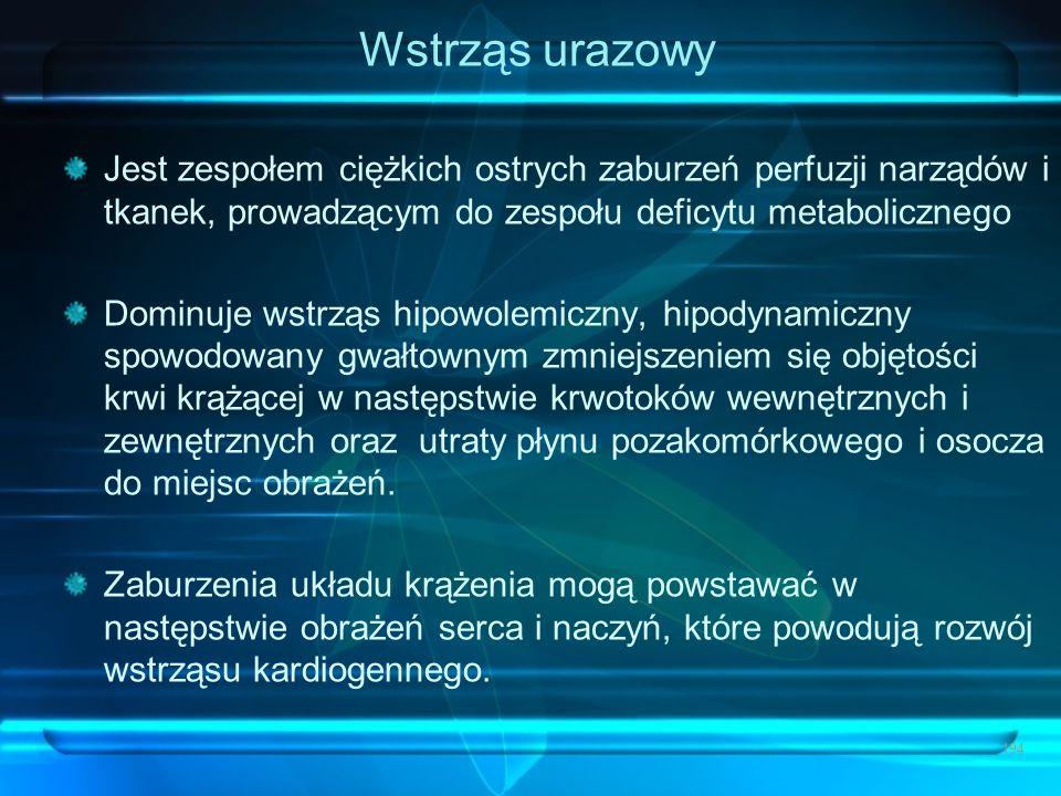 Wstrząs urazowy Jest zespołem ciężkich ostrych zaburzeń perfuzji narządów i tkanek, prowadzącym do zespołu deficytu metabolicznego Dominuje wstrząs hi