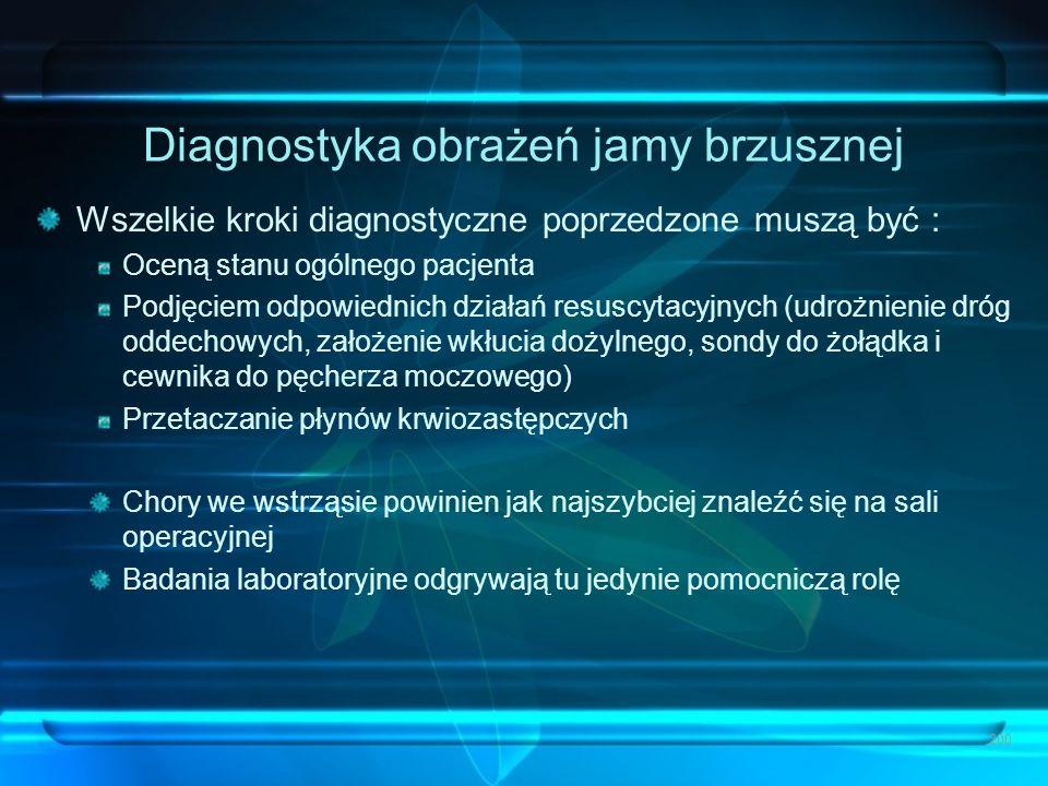 Diagnostyka obrażeń jamy brzusznej Wszelkie kroki diagnostyczne poprzedzone muszą być : Oceną stanu ogólnego pacjenta Podjęciem odpowiednich działań r
