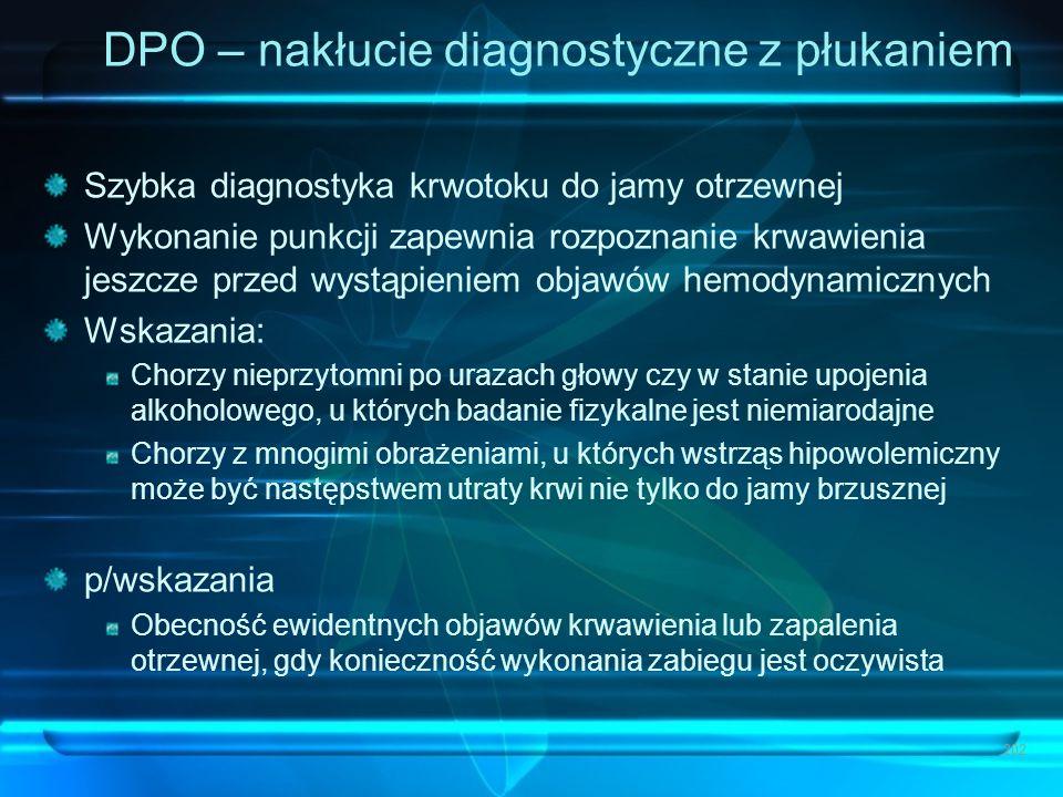 DPO – nakłucie diagnostyczne z płukaniem Szybka diagnostyka krwotoku do jamy otrzewnej Wykonanie punkcji zapewnia rozpoznanie krwawienia jeszcze przed