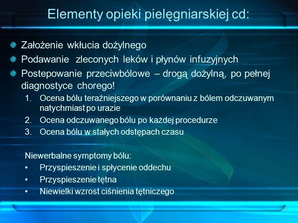 Elementy opieki pielęgniarskiej cd: Założenie wkłucia dożylnego Podawanie zleconych leków i płynów infuzyjnych Postepowanie przeciwbólowe – drogą doży