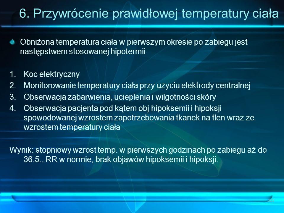 6. Przywrócenie prawidłowej temperatury ciała Obniżona temperatura ciała w pierwszym okresie po zabiegu jest następstwem stosowanej hipotermii 1.Koc e