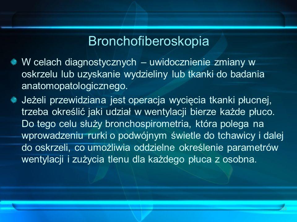 Bronchofiberoskopia W celach diagnostycznych – uwidocznienie zmiany w oskrzelu lub uzyskanie wydzieliny lub tkanki do badania anatomopatologicznego. J