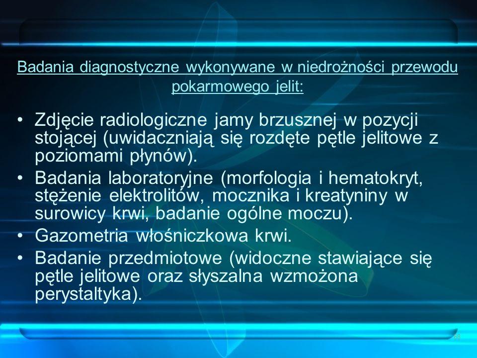 68 Badania diagnostyczne wykonywane w niedrożności przewodu pokarmowego jelit: Zdjęcie radiologiczne jamy brzusznej w pozycji stojącej (uwidaczniają s