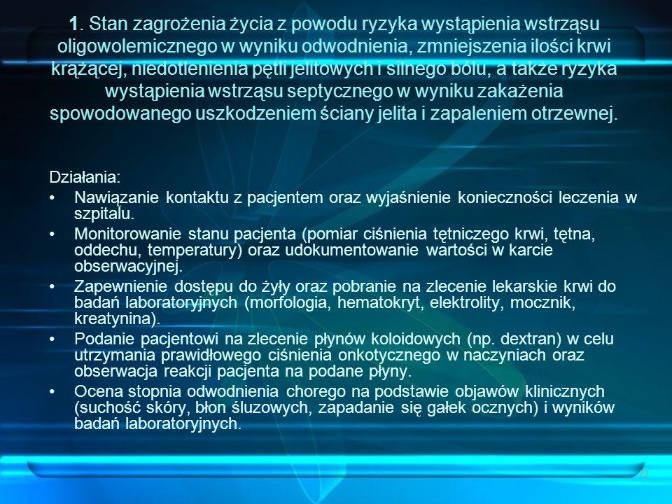 72 1. Stan zagrożenia życia z powodu ryzyka wystąpienia wstrząsu oligowolemicznego w wyniku odwodnienia, zmniejszenia ilości krwi krążącej, niedotleni