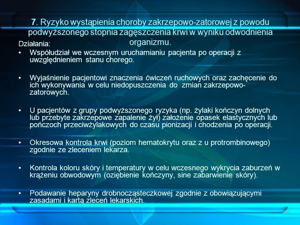 84 7. Ryzyko wystąpienia choroby zakrzepowo-zatorowej z powodu podwyższonego stopnia zagęszczenia krwi w wyniku odwodnienia organizmu. Działania: Wspó