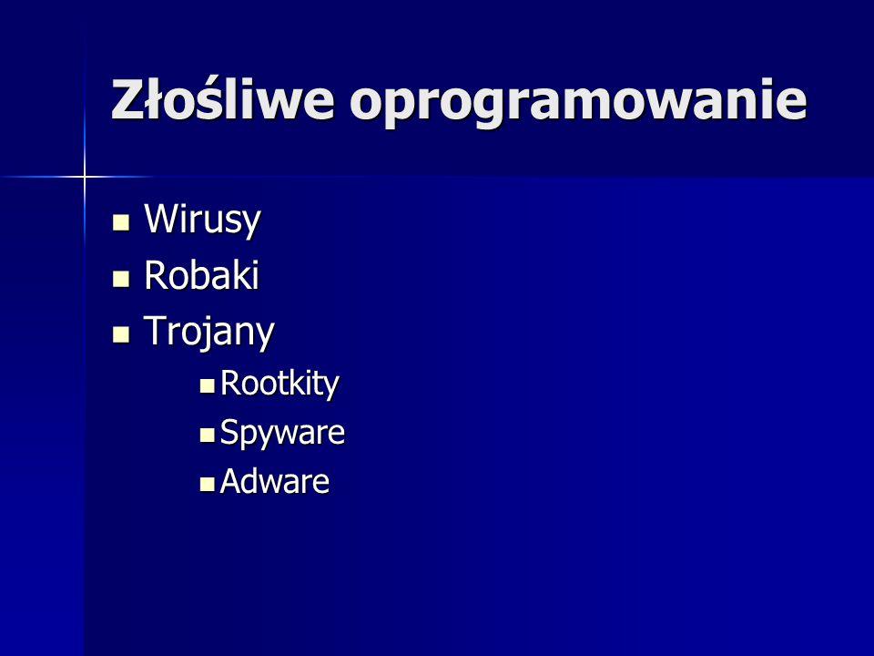 Złośliwe oprogramowanie Wirusy Wirusy Robaki Robaki Trojany Trojany Rootkity Rootkity Spyware Spyware Adware Adware