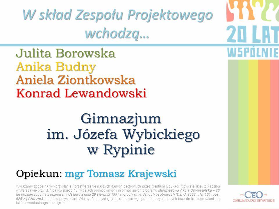 Julita Borowska Anika Budny Aniela Ziontkowska Konrad Lewandowski Gimnazjum im.