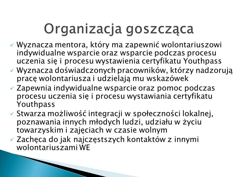 Wyznacza mentora, który ma zapewnić wolontariuszowi indywidualne wsparcie oraz wsparcie podczas procesu uczenia się i procesu wystawienia certyfikatu Youthpass Wyznacza doświadczonych pracowników, którzy nadzorują pracę wolontariusza i udzielają mu wskazówek Zapewnia indywidualne wsparcie oraz pomoc podczas procesu uczenia się i procesu wystawiania certyfikatu Youthpass Stwarza możliwość integracji w społeczności lokalnej, poznawania innych młodych ludzi, udziału w życiu towarzyskim i zajęciach w czasie wolnym Zachęca do jak najczęstszych kontaktów z innymi wolontariuszami WE