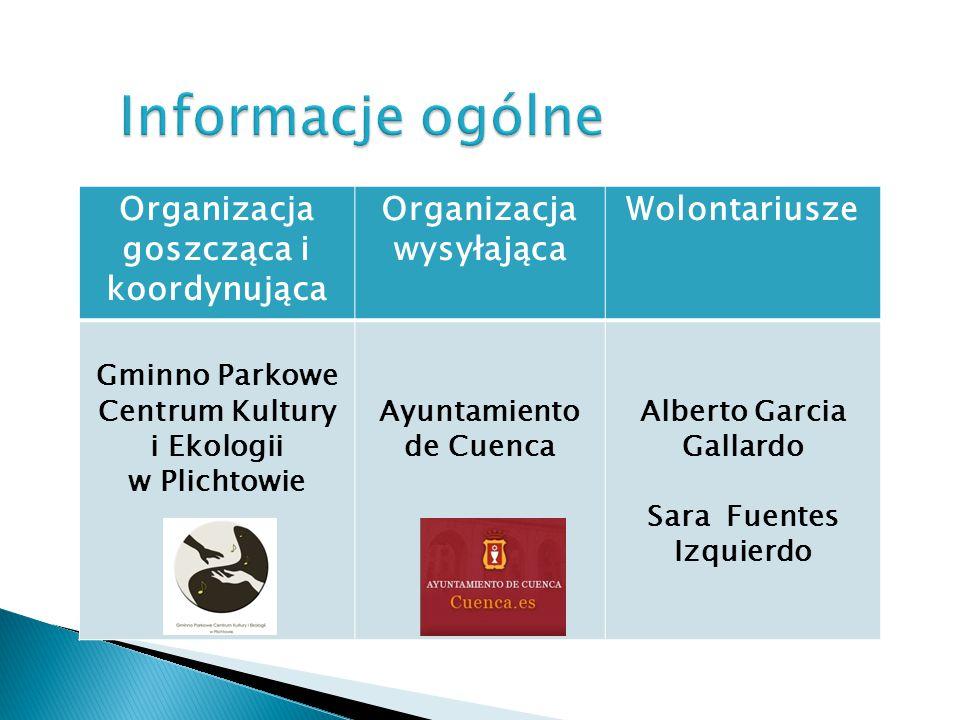 Organizacja goszcząca i koordynująca Organizacja wysyłająca Wolontariusze Gminno Parkowe Centrum Kultury i Ekologii w Plichtowie Ayuntamiento de Cuenca Alberto Garcia Gallardo Sara Fuentes Izquierdo