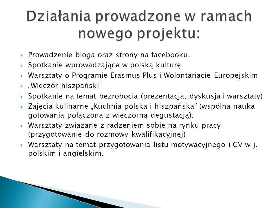  Prowadzenie bloga oraz strony na facebooku.  Spotkanie wprowadzające w polską kulturę  Warsztaty o Programie Erasmus Plus i Wolontariacie Europejs