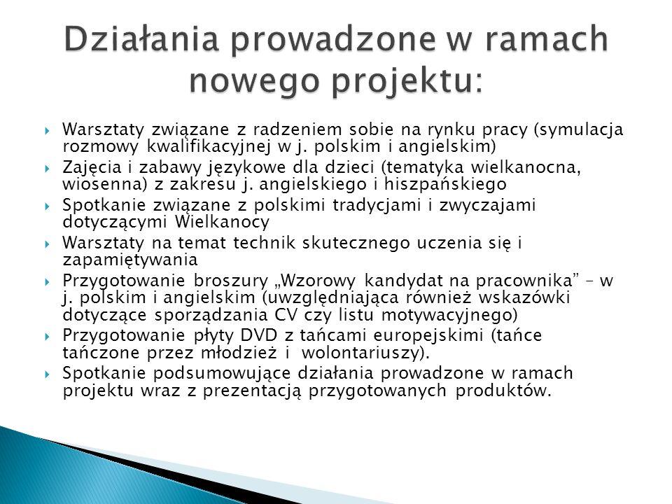  Warsztaty związane z radzeniem sobie na rynku pracy (symulacja rozmowy kwalifikacyjnej w j. polskim i angielskim)  Zajęcia i zabawy językowe dla dz