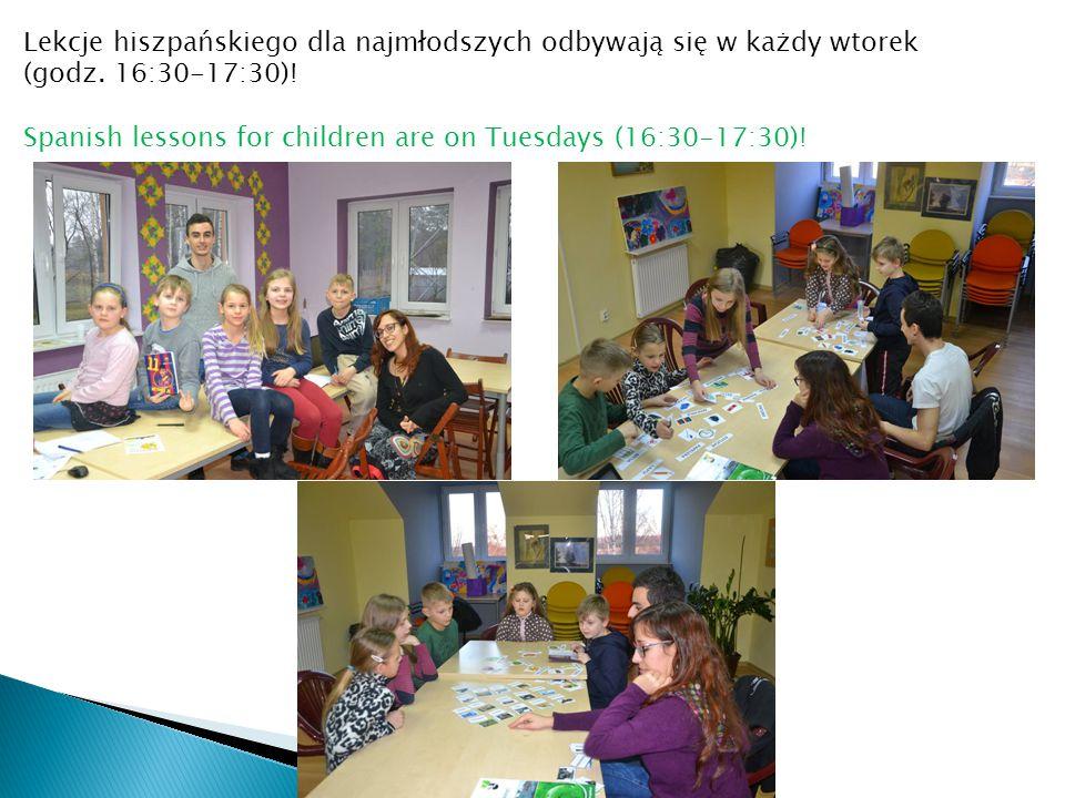 Lekcje hiszpańskiego dla najmłodszych odbywają się w każdy wtorek (godz. 16:30-17:30)! Spanish lessons for children are on Tuesdays (16:30-17:30)!