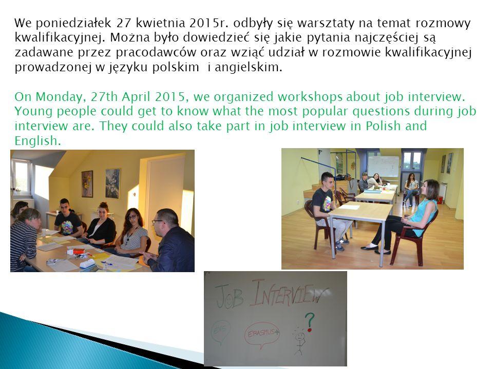 We poniedziałek 27 kwietnia 2015r. odbyły się warsztaty na temat rozmowy kwalifikacyjnej. Można było dowiedzieć się jakie pytania najczęściej są zadaw