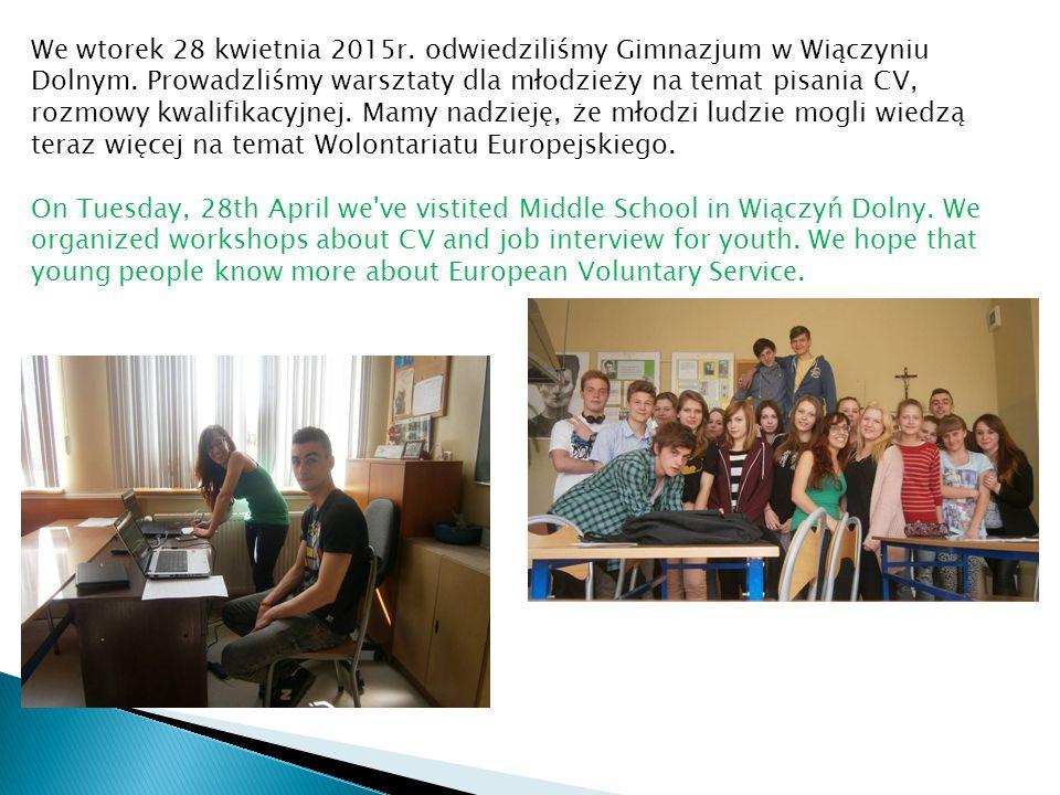 We wtorek 28 kwietnia 2015r. odwiedziliśmy Gimnazjum w Wiączyniu Dolnym. Prowadzliśmy warsztaty dla młodzieży na temat pisania CV, rozmowy kwalifikacy