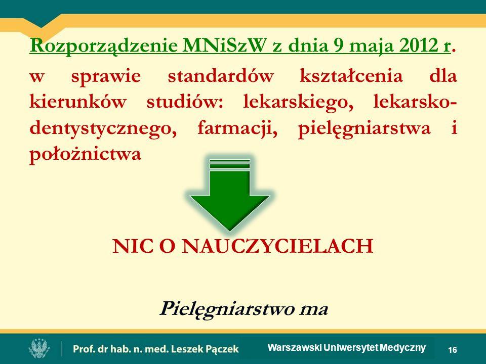 Rozporządzenie MNiSzW z dnia 9 maja 2012 r.