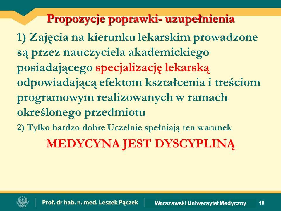 Propozycje poprawki- uzupełnienia 1) Zajęcia na kierunku lekarskim prowadzone są przez nauczyciela akademickiego posiadającego specjalizację lekarską odpowiadającą efektom kształcenia i treściom programowym realizowanych w ramach określonego przedmiotu 2) Tylko bardzo dobre Uczelnie spełniają ten warunek MEDYCYNA JEST DYSCYPLINĄ 18 Warszawski Uniwersytet Medyczny